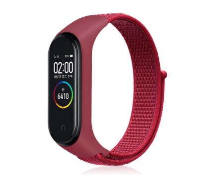 Сменный тканевый ремешок на фитнес-браслет Xiaomi mi band 5 ( бордовый с белой строчкой )
