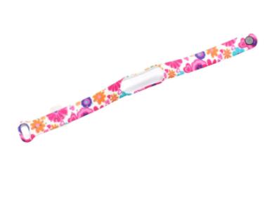 Сменный ремешок с рисунком на фитнес-браслет Xiaomi mi band 5/6 ( Цветы розово-белые  )