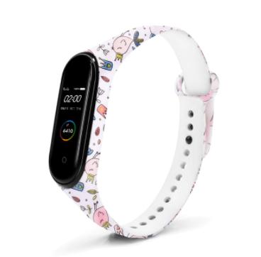 Сменный ремешок с рисунком на фитнес-браслет Xiaomi mi band 5 ( Птицы-белый )