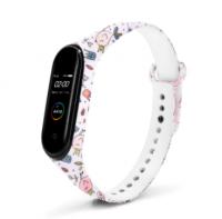 Сменный ремешок с рисунком на фитнес-браслет Xiaomi mi band 5/6 ( Птицы-белый )