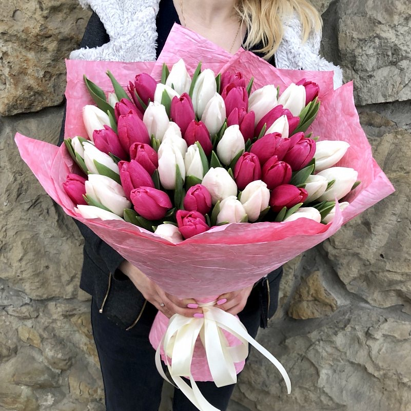 51 бело-розовый тюльпан в красивой упаковке