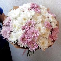 15 хризантем в крафт бумаге