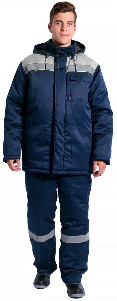 Куртка зимняя Экспертный-Люкс NEW (тк.Смесовая,210), т.синий/серый