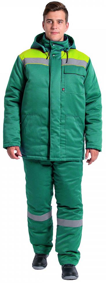 Куртка зимняя Экспертный-Люкс NEW (тк.Смесовая,210), зеленый/лимонный