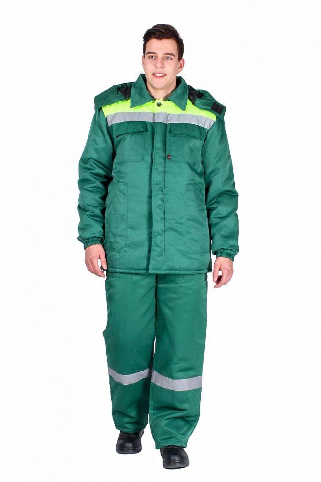 Куртка зимняя мужская Эксперт-Люкс (тк.Смесовая,210), зеленый/лимонный
