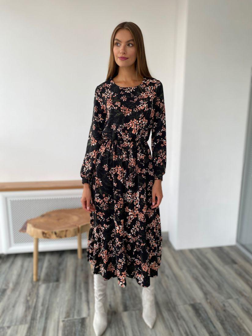 s2336 Платье чёрное с принтом