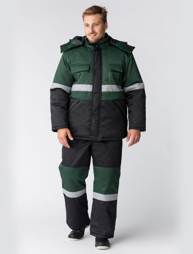 Костюм зимний Профи-Норд (тк.Смесовая,250) п/к, черный/зеленый
