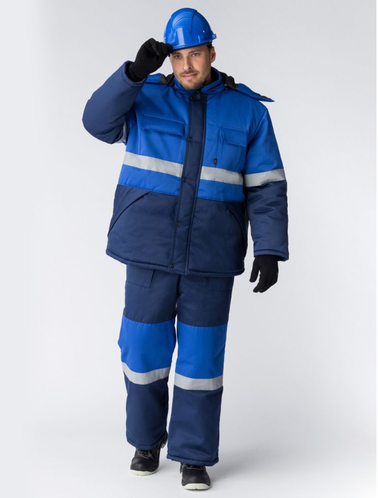 Костюм зимний Профи-Норд (тк.Смесовая,250) п/к, т.синий/васильковый