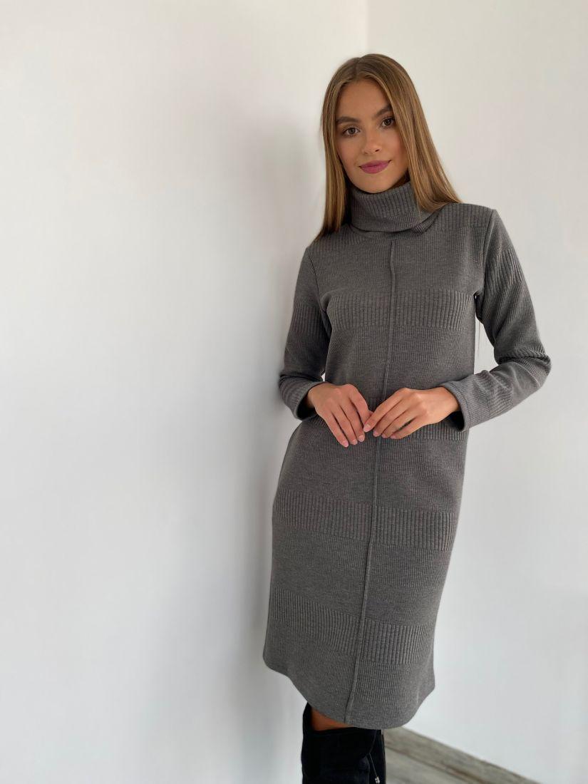 s2343 Платье с планкой графитовое