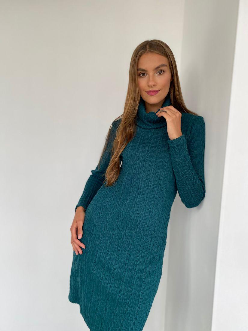 s2345 Платье-свитер из мягкого трикотажа в цвете морской волны