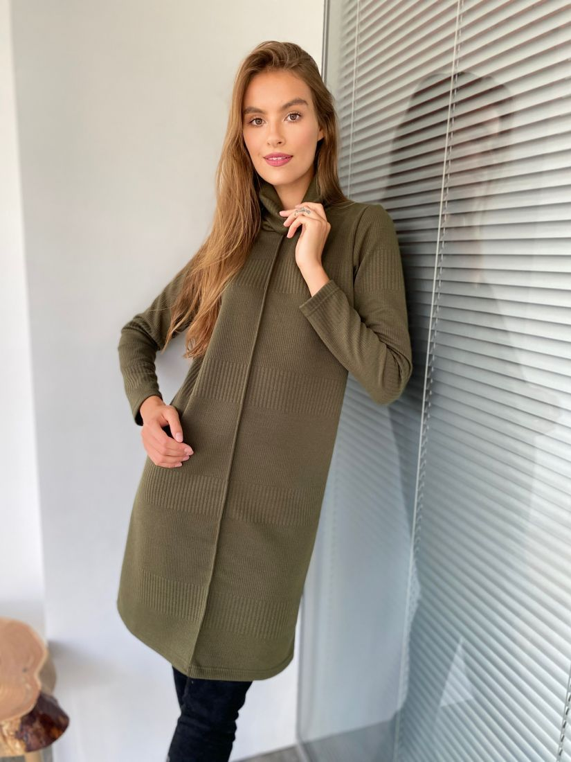 s2346 Платье-свитер с планкой в цвете хаки