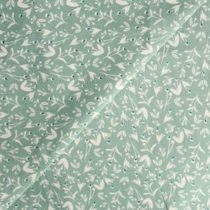 Хлопок Растительный узор на зеленом 50х40