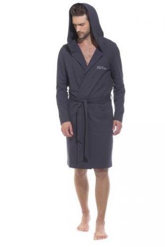 Трикотажный мужской халат с капюшоном Sports Idol антрацит