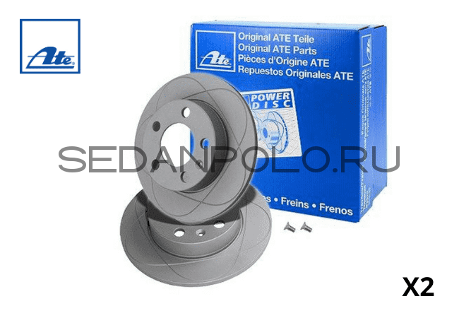 ДИСКИ ТОРМОЗНЫЕ ЗАДНИЕ ATE POWER DISC 1ZC VOLKSWAGEN POLO SEDAN/LIFTBACK/SKODA RAPID