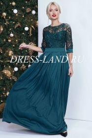 Зеленое платье в пол с кружевным лифом