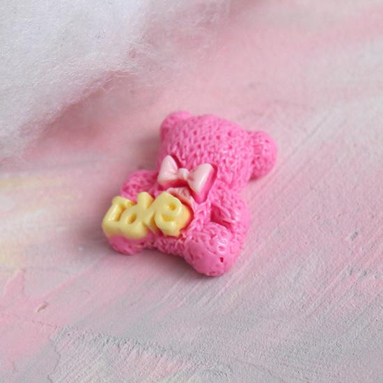 Кукольная миниатюра - Кабошон медвежата розовые 2 см