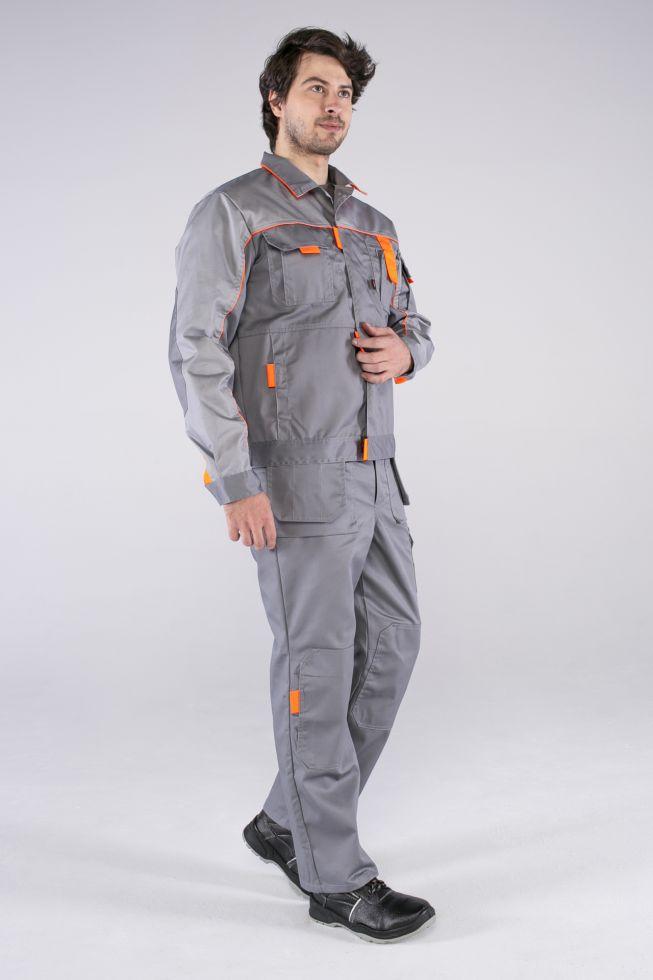 Костюм Союз-Профессионал-1 (тк.Балтекс,240) брюки, серый/св.серый/оранжевый