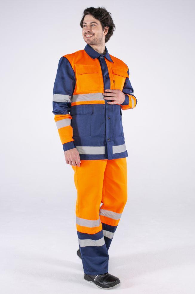 Костюм Дорожник (тк.Смесовая,210) п/к, оранжевый/т.синий