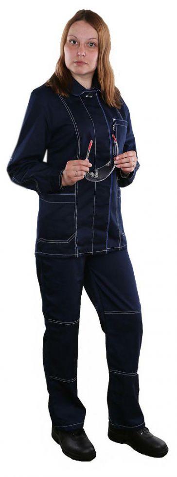 Костюм женский Сакура (тк.Саржа-250, МВО) брюки БиН, т.синий