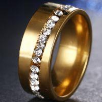 Кольцо стальное позолоченное с цирконами