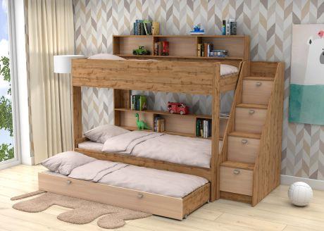 Трехъярусная кровать Golden Kids 10.1  GК 10.1 (корпус дуб ВОТАН)