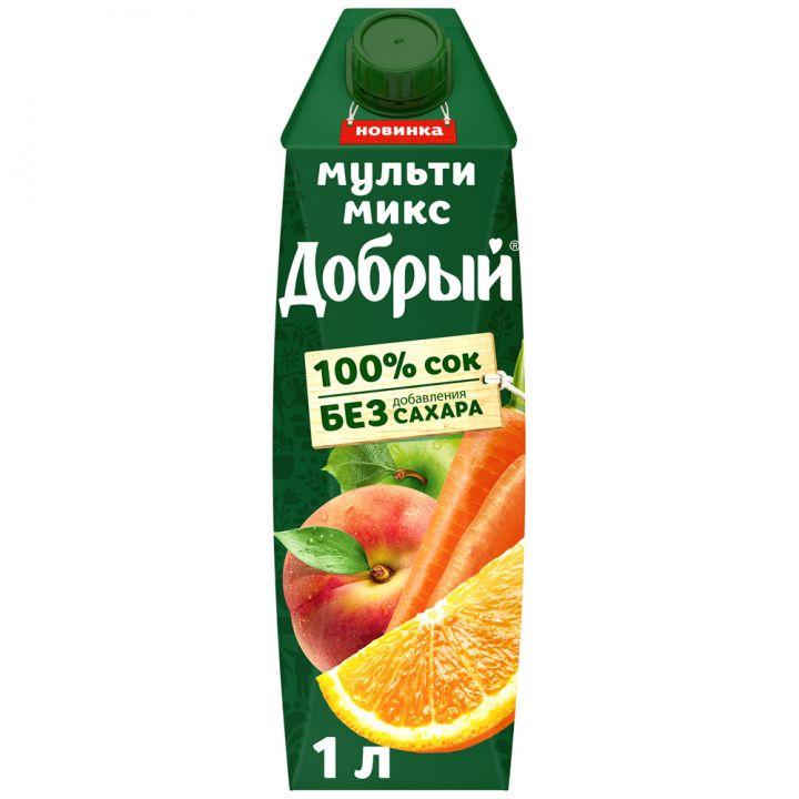 Сок Добрый 1л Яблоко/Апельсин/Персик/Морковь