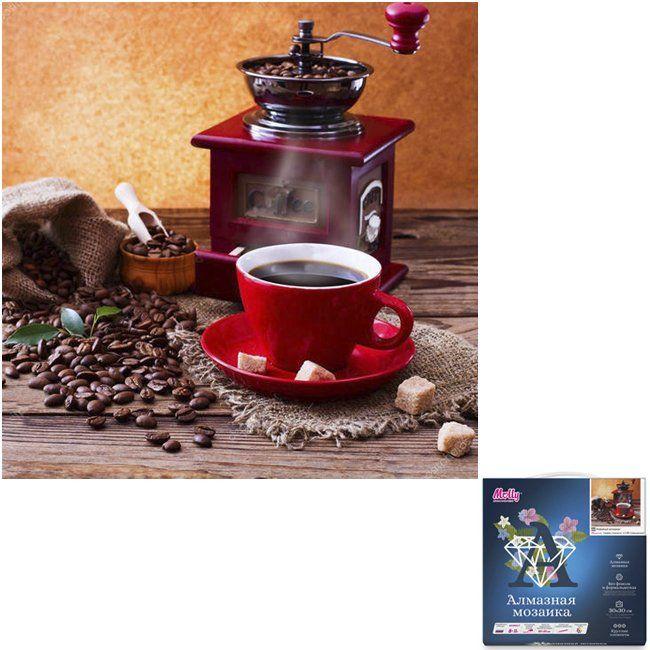Алмазная вышивка Кофейный аромат (30 х 30 см) картина стразами