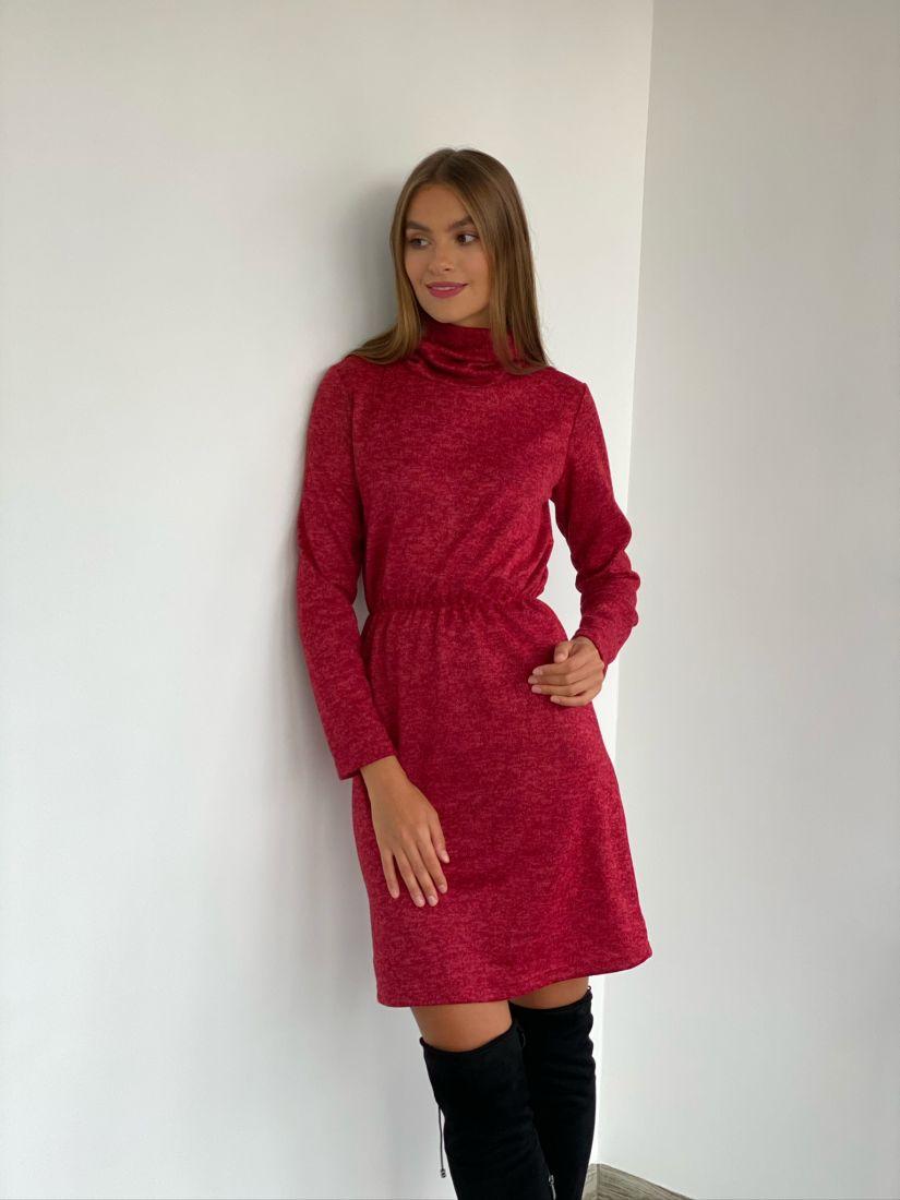 s2356 Трикотажное платье-свитер темно-красное