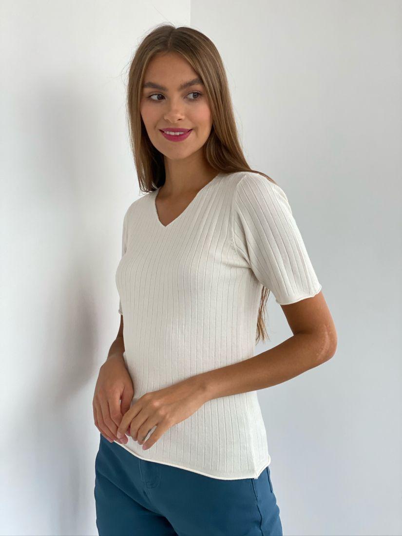 s2374 Пуловер тонкий белый