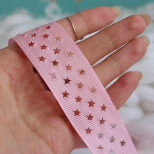 Лента репсовая со звёздами Розовый