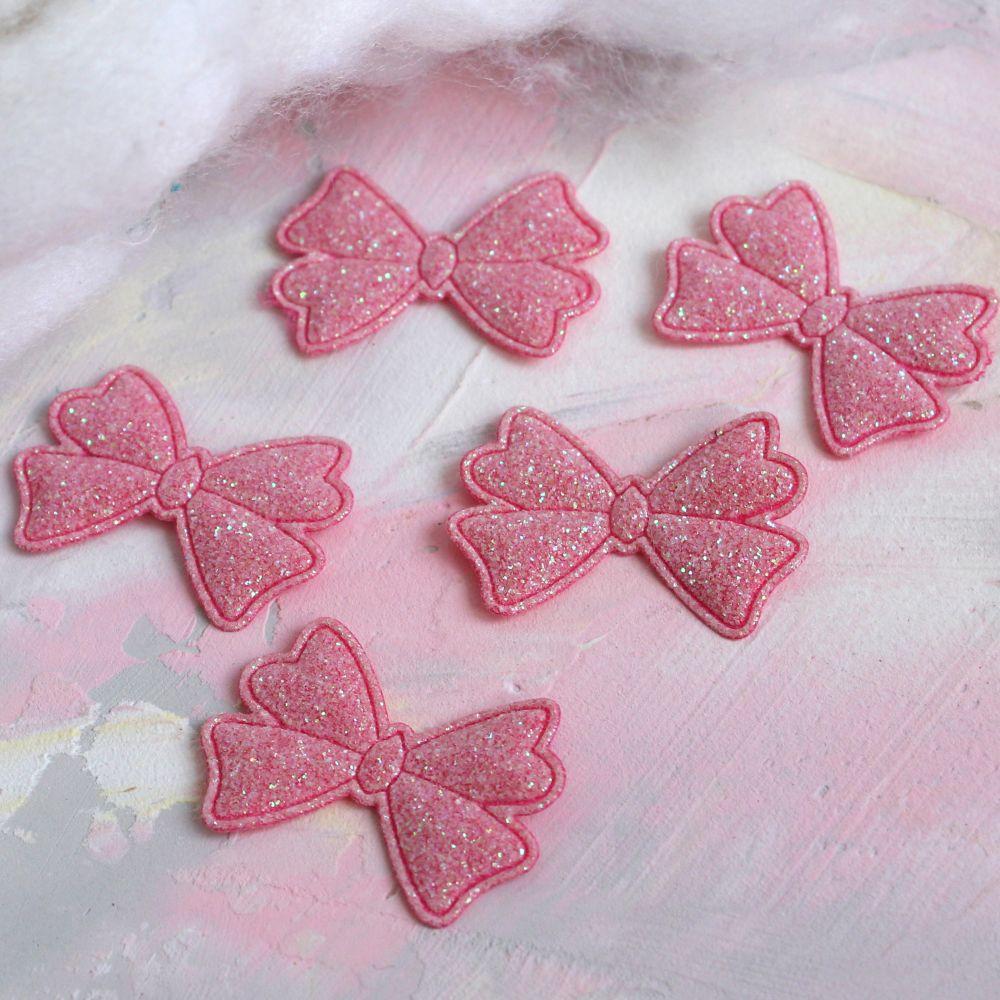 Кукольный аксессуар Бантики ярко-розовые с блестками 5 шт