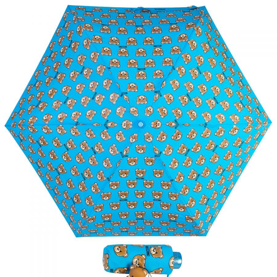 Зонт складной Moschino 8067-SuperminiP Brush Bear Allover Lightblue