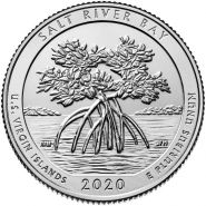 53 ПАРК США - 25 центов 2020 год, Виргинские острова, Бухта Соленой Реки