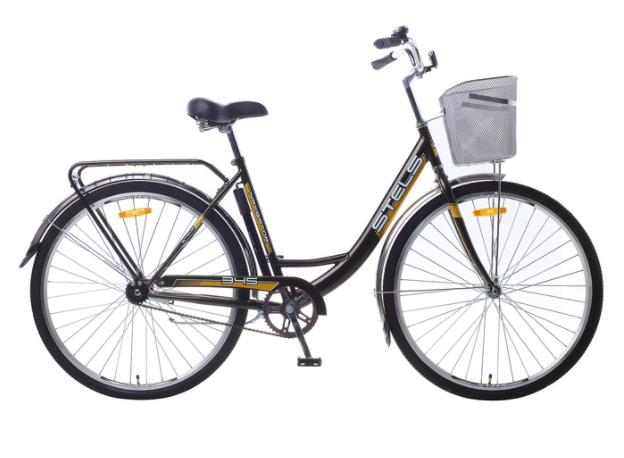 Городской велосипед STELS Navigator 345 28 Z010 с корзиной Тёмно-оливковый