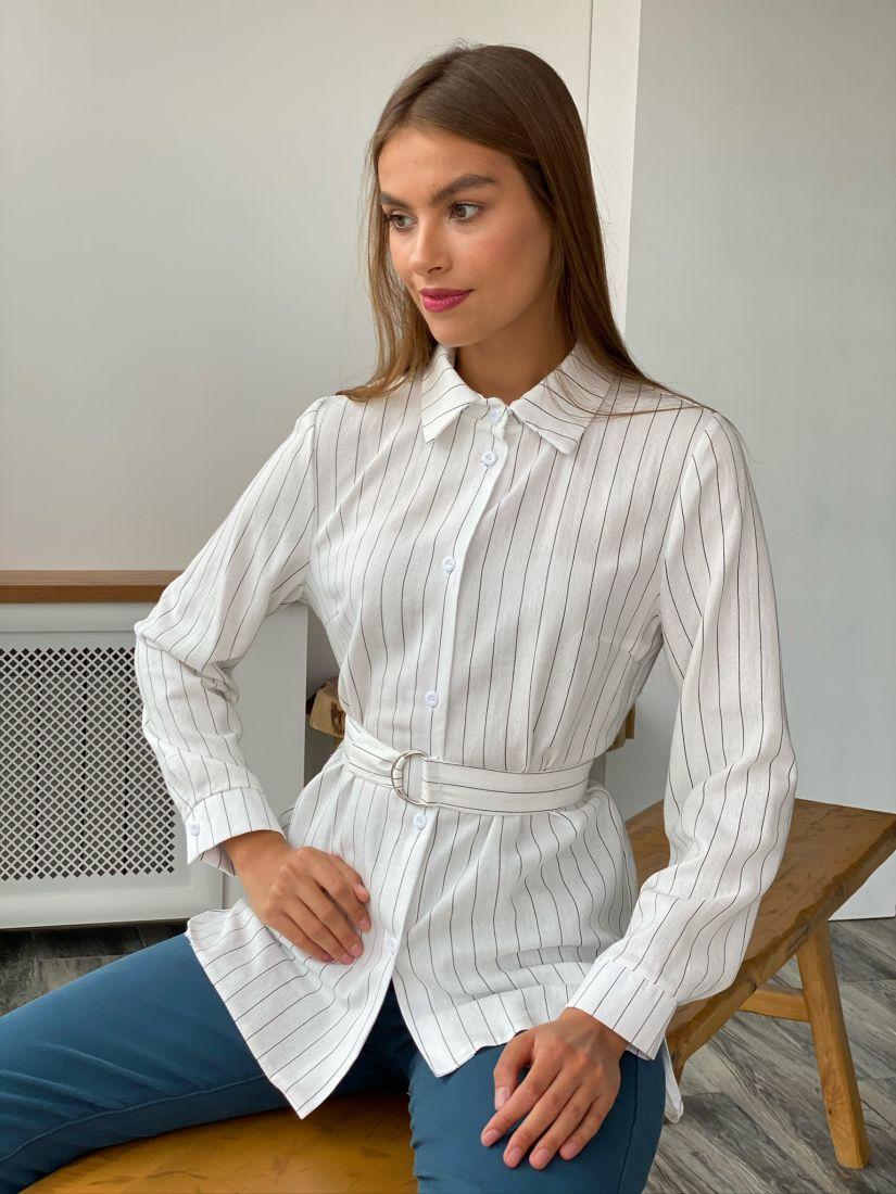 s2395 Удлиненная хлопковая рубашка белая