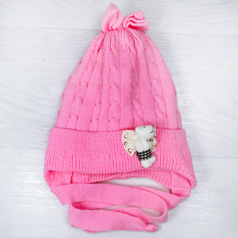 зн1018-47 Шапка вязаная на завязках с бантом на макушке Мишка розовая