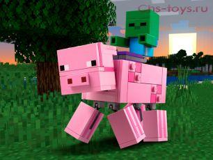 Конструктор LARI Minecraft Большие фигурки Minecraft, Свинья и Зомби-ребёнок 11473 (Аналог LEGO Minecraft 21157) 159 дет