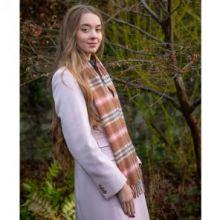 кашемировый шарф (100% драгоценный кашемир) , расцветка Элли Роза  ELIE ROSE CHECK LUXURY CASHMERE  плотность 7