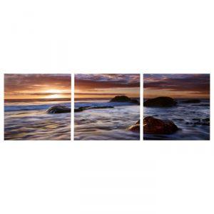 """Модульная картина """"Камни в море"""" (3-35х35) 35х105 см 4983618"""