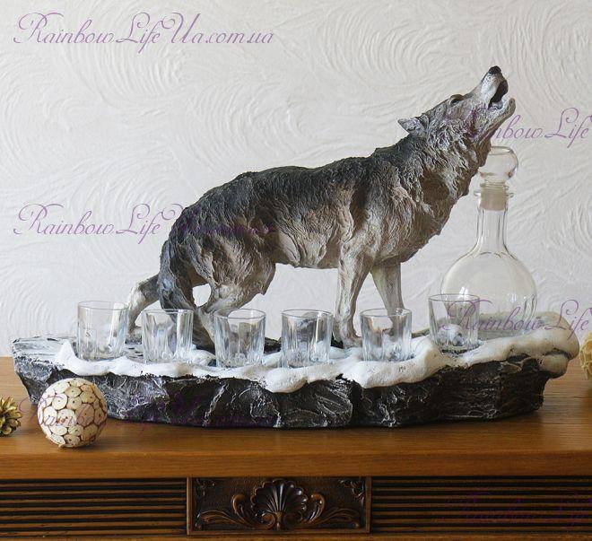 """Штоф """"Воющий волк"""" с графином и рюмками"""