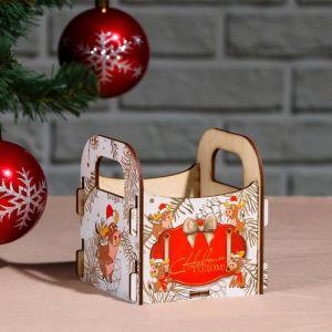 """Кашпо деревянное """"С Новым Годом! Бычок на снегу"""", 10?10.5?11 см 5249124"""