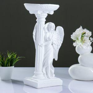 "Фигура ""Ангел девушка у колонны"" белый 21х18х42см   1073399"