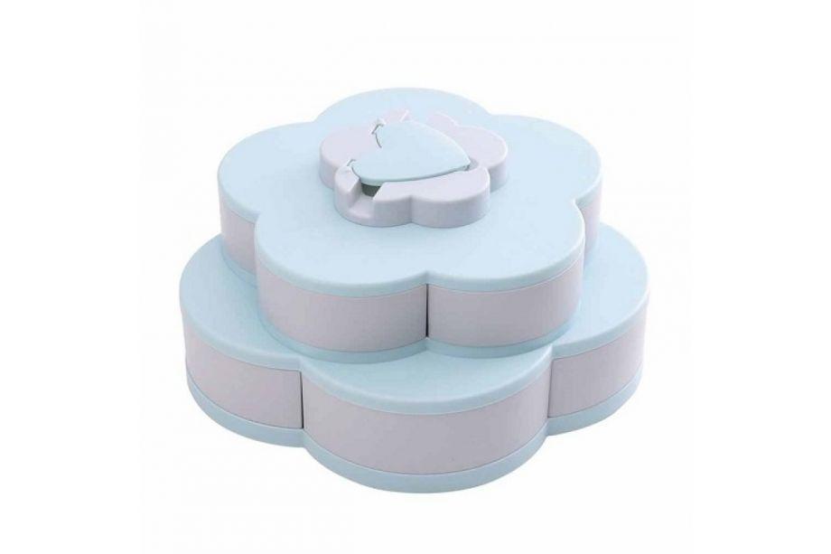 Раздвижная менажница для сухофруктов и конфет Flowers Overflow Candy Box (Голубой, Двухъярусный)