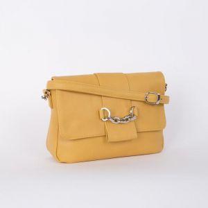 Сумка женская, отдел на клапане, наружный карман, длинный ремень, цвет жёлтый