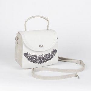 Сумка женская, отдел с перегородкой на молнии, наружный карман, длинный ремень, цвет серый