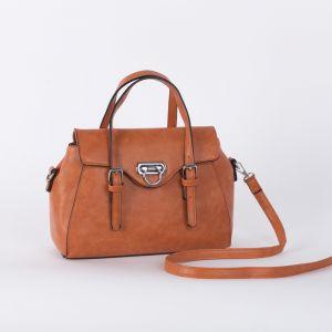 Сумка женская, отдел на молнии, наружный карман, длинный ремень, цвет оранжевый