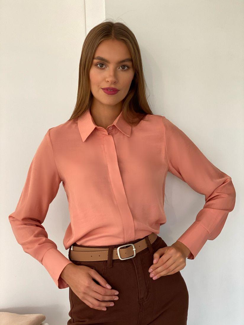 s2438 Рубашка с супатной застежкой в теплом розовом