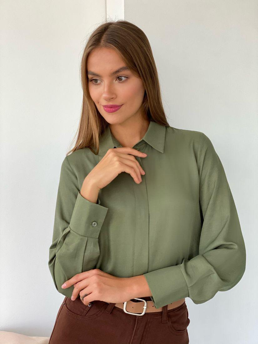 s2441 Рубашка с супатной застежкой в цвете папоротника