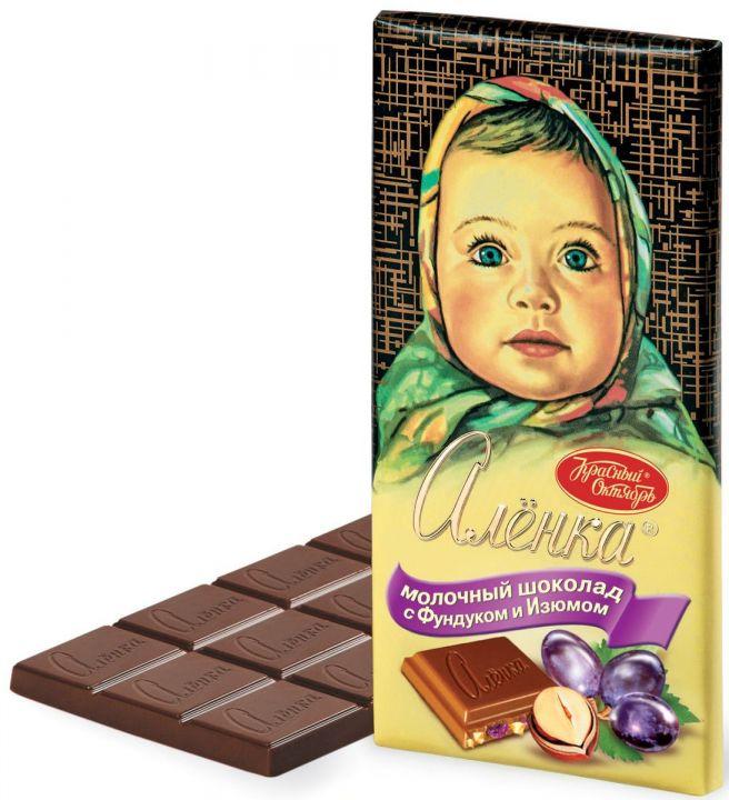 Шоколад Аленка молоч. с фундуком и изюмом 100г Красный Октябрь