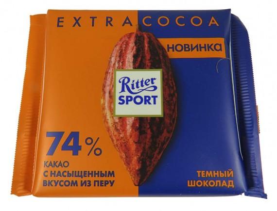 Шоколад Ritter sport Экстра Нат темный 74% какао из Перу 100г